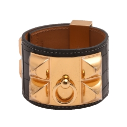 HERMES collier de chien金屬鉚釘亮面鱷魚皮寬版手環(S-咖啡X金)