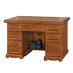 Bernice-德夫4.4尺全實木主管辦公桌(附強化玻璃桌面)-131x68x82cm