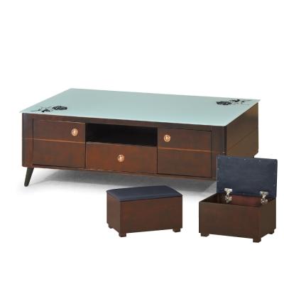 品家居 湯米4.3尺玻璃大茶几含椅凳2入(兩色可選)-130x70x55cm免組