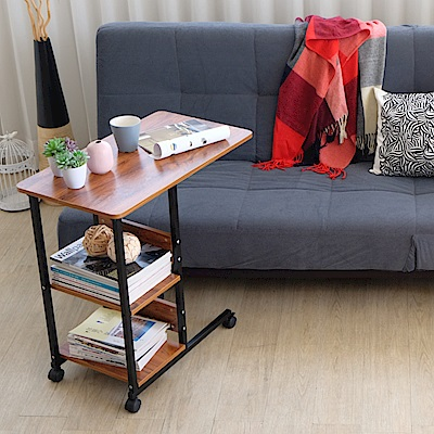 EASY HOME-防潑水耐熱美學邊桌(胡桃+黑)-70x40x72cm-DIY