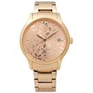 ESPRIT 優雅花漾質感日期不鏽鋼腕錶-鍍玫瑰金/36mm