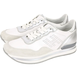 HOGAN H222 H 穿孔拼接麂皮厚底繫帶休閒鞋(銀x白)