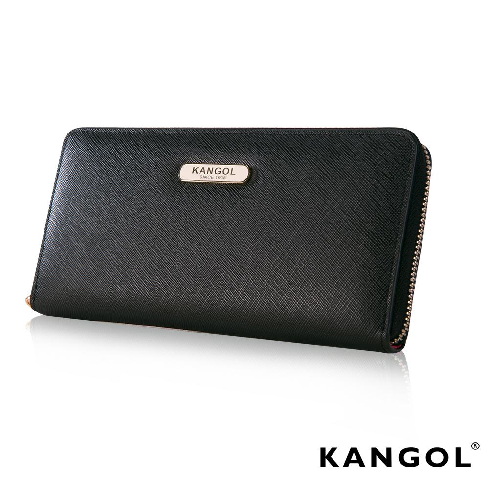 福利品KANGOL英國袋鼠優雅經典風華拉鍊長夾十字紋頭層皮設計-黑色