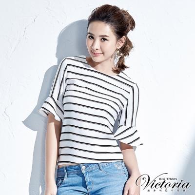 Victoria 摩登條紋喇叭袖圓領衫-女-白色