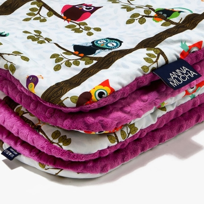 La Millou 暖膚豆豆毯(加大款)-樹屋貓頭鷹(沁甜莓果紅)