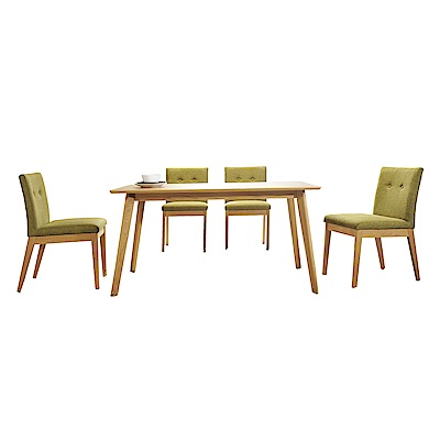 AT HOME-實木4.6尺餐桌椅組-一桌四椅 140x80x75cm