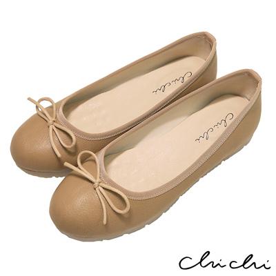 Chichi 舒適首選 素面百搭蝴蝶結娃娃鞋*米色