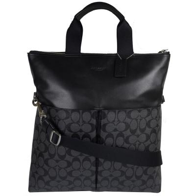 COACH 經典LOGO防水PVC皮革雙口袋中性都會包.黑灰