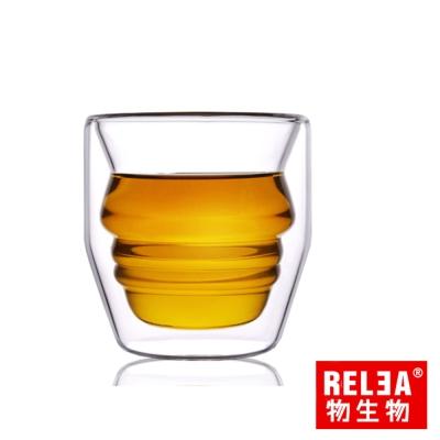 香港RELEA物生物 雙層玻璃品茗杯30ml(小人造型)