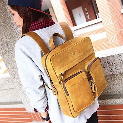 CALTAN-後背包 旅行包 雙口袋 大容量 大置物 真牛皮 手提-5285ht