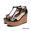達芙妮DAPHNE 涼鞋-立體拼花工字軟木紋楔型涼鞋-黑
