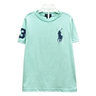Ralph Lauren 大童刺繡數字3經典大馬素面短袖t恤-水藍色(L)