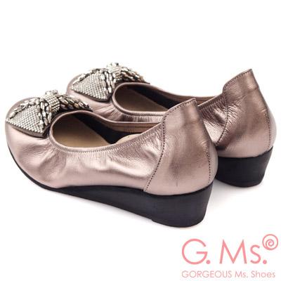 G.Ms. MIT系列-牛皮鑽飾串珠蝴蝶結小坡跟鞋-華麗銀