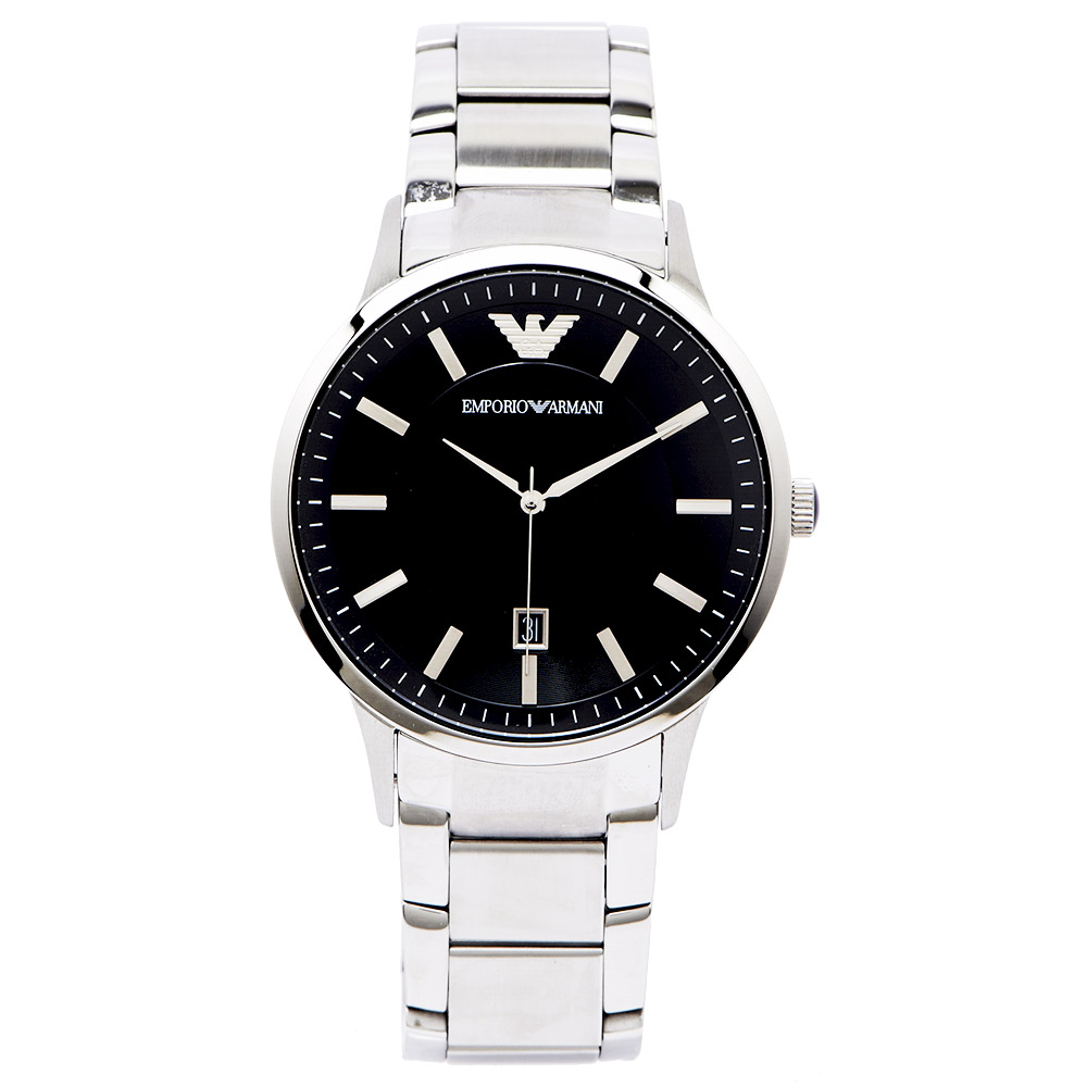ARMANI Sportivo沉靜摩登男性簡約手錶 (AR2457) -黑面x銀/44mm