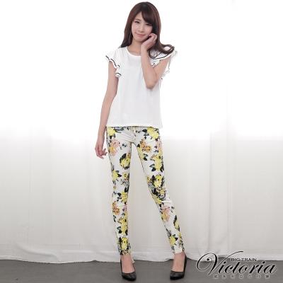 Victoria 低腰印花窄直筒褲-女-黃色
