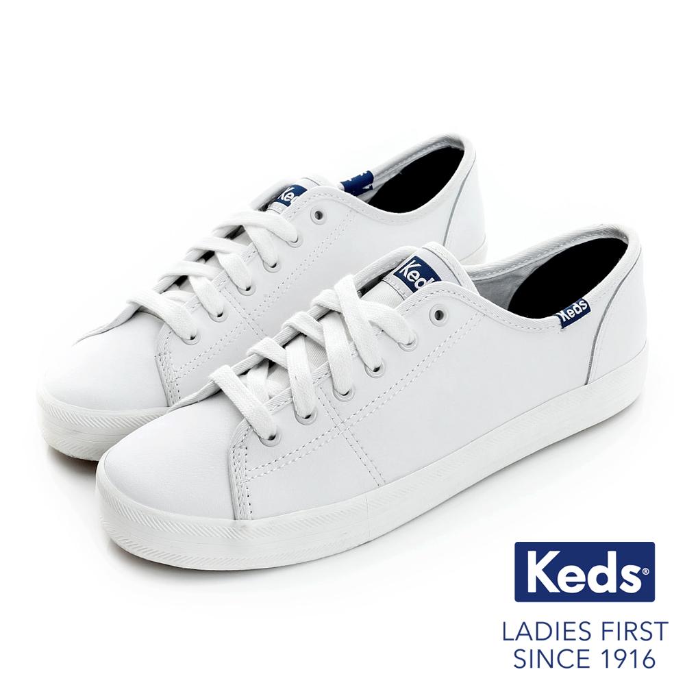 Keds 時尚運動基本綁帶皮質休閒鞋-白