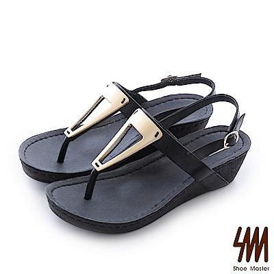 SM-羅馬系列-金屬三角夾腳中低楔型涼鞋-黑色