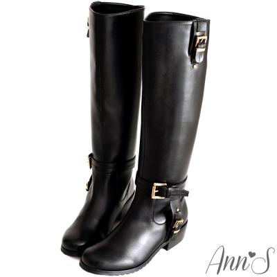 Ann'S精緻品味T型金釦顯瘦軍靴-黑