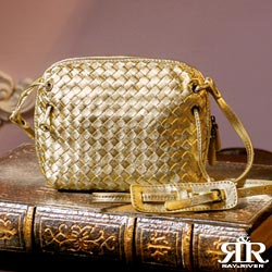 【2R】頂級訂製NAPPA羊皮手工梭織小斜包(香檳金)