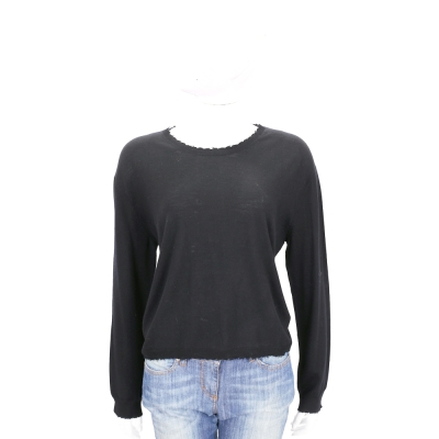 ALLUDE 深灰色毛邊設計圓領針織羊毛上衣(100%WOOL)