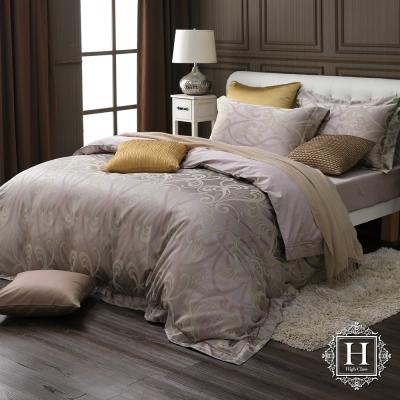 HOYA H Series聖米榭爾 加大四件式臻絲長纖棉緹花被套床包組 贈蠶絲被