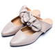 DIANA-時尚潮流-質感雙色牛皮蝴蝶結尖頭穆勒鞋