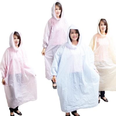 順本格紋粉彩輕便雨衣-6入