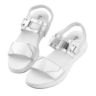 Robinlo&Co. 太空科技感厚底真皮涼鞋 白