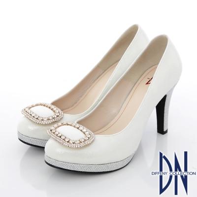 DN 經典花漾 璀璨水鑽飾扣金蔥新娘跟鞋 銀
