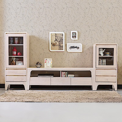Bernice-森克8.4尺全實木收納電視櫃組合(洗白色)-252x45x131cm