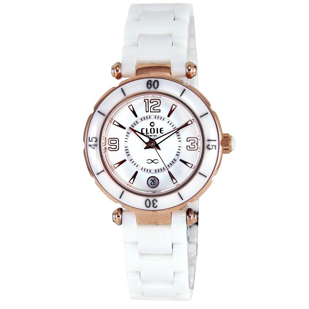 CLOIE 純白美學魅力陶瓷腕錶-白X玫瑰金/34mm