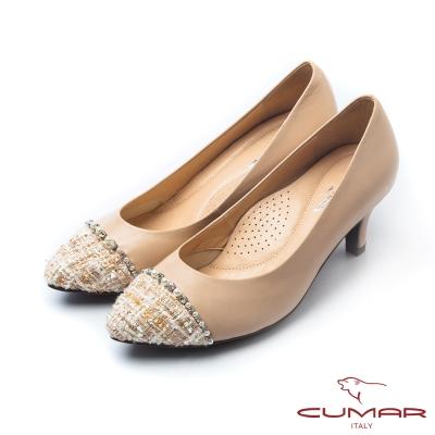 CUMAR優雅拼接優雅毛呢異材拼接尖頭高跟鞋粉膚