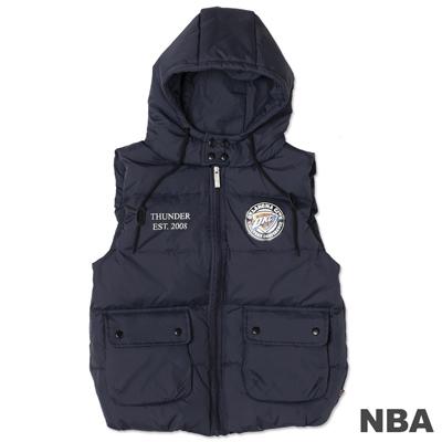 NBA-奧克拉荷馬雷霆隊輕量連帽羽絨背心-深藍(女)