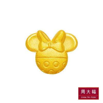 周大福 迪士尼經典系列 霧面米妮點點黃金耳環(單耳)