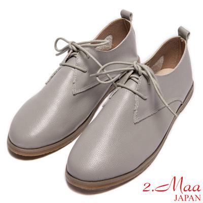 2.Maa-簡約俐落學院風綁帶平底鞋-灰