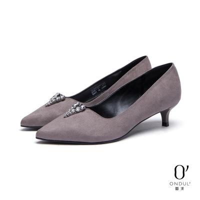 達芙妮x高圓圓-圓漾系列-高跟鞋-V型水鑽切口尖頭低跟鞋-灰