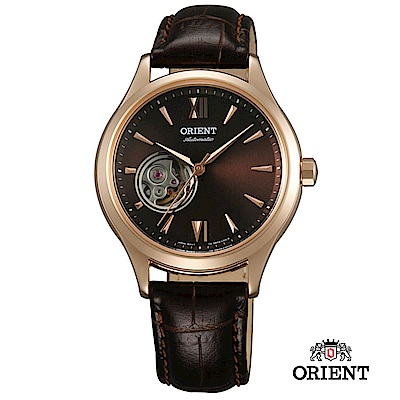 ORIENT 東方錶 ELEGANT系列 優雅小鏤空機械錶 皮帶款 咖啡色