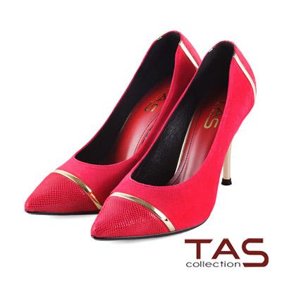 TAS-簡約金屬麂皮材質拼接尖頭高跟鞋-俏桃紅