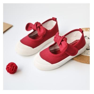 甜美蝴蝶結款四季兒童帆布鞋-酒紅