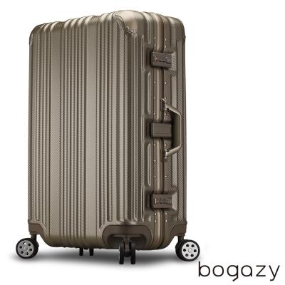 Bogazy 星球旅者 26吋PC鋁框霧面行李箱(香檳金)