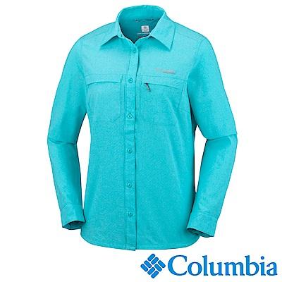 Columbia 哥倫比亞 女款-鈦涼感快排長袖襯衫-湖水藍(UAR91370AQ)