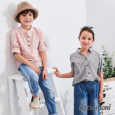 Little moni 長版條紋襯衫 (2色可選)