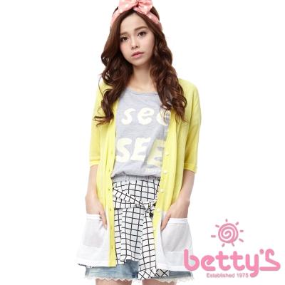 betty's貝蒂思 格紋綁帶塗鴉假兩件上衣(灰色)