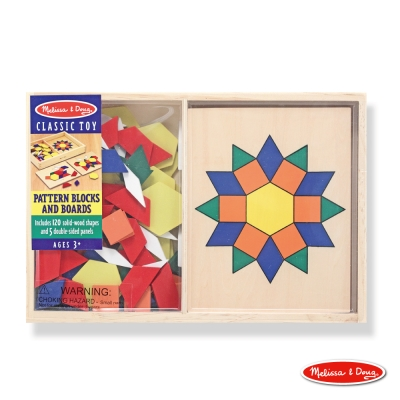 美國瑪莉莎 Melissa & Doug 益智 - 幼兒幾何積木 - 10面拼板