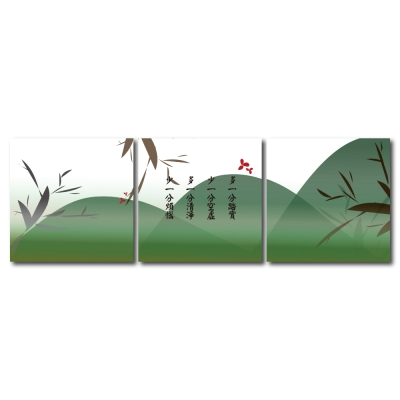 123點點貼- 三聯式無痕創意壁貼-綠意森深30*30cm