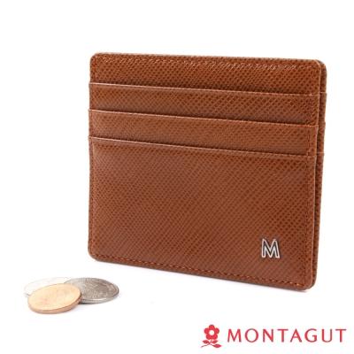 MONTAGUT夢特嬌-簡約雙切紋頭層牛皮名片夾