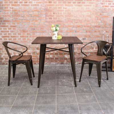 Bernice-布魯克2.7尺工業風實木鐵腳餐桌椅組(一桌二椅)-80x80x78cm