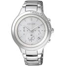 CITIZEN L系列 光動能 閃耀幸福三眼計時鑽錶(FB4000-53A)-銀/37mm