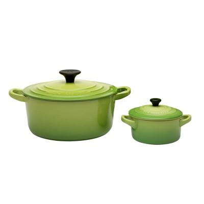 琺瑯鑄鐵圓鍋18cm-瓷器迷你圓烤盅-棕櫚綠