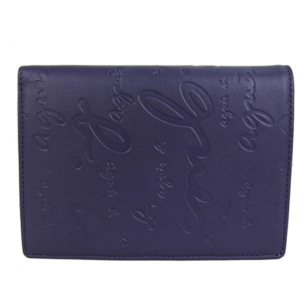agnes b. 真皮壓紋筆記型中夾(紫)
